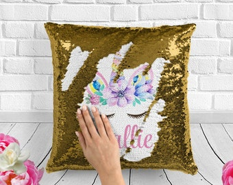 Unicorn Sequin Pillow Personalized Gift Lover Girls Kids