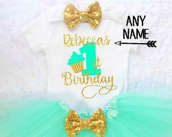 girls first birthday outfit baby girls first birthday outfit girls first birthday shirt mint and gold first birthday cupcake birthday outfit
