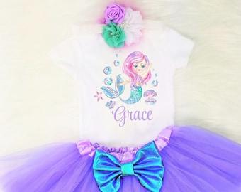 b182b69318e3 personalized mermaid outfit girls mermaid outfit mermaid shirt mermaid  outfit mermaid party little mermaid baby mermaid outfit mermaid girl