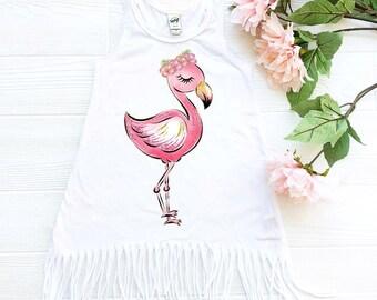 0b61c0eaf7ca0 Flamingo Dress Flamingo Outfit Summer Dress Beach Dress Toddler Dress  Flamingo Clothes Baby Girl Flamingo Dress Baby Girl Summer Clothes