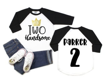 ace436b32e591 Boys Second Birthday Shirt Boys Second Birthday Raglan Toddler Boy 2nd  Birthday Outfit 2nd Birthday Shirt Two Handsom Birthday Shirt Boys