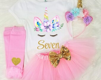 Unicorn 7th Birthday Outfit Seventh Girls Shirt