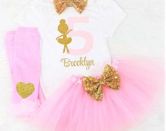 Girls Fifth Birthday Outfit 5th Ballet Shirt Ballerina