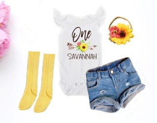 Sunflower First Birthday Outfit Baby Girl Summer Birthday Outfit Summer First Birthday Outfit Sunflower Birthday Outfit Personalized Boho