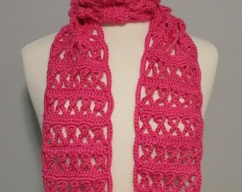 Crochet Hot Pink Ribbon Scarf