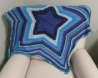 Crochet Star Baby Blanket in Blue Ombre