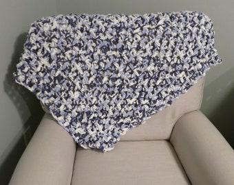 Super Plush Crochet Baby Blanket in Blue Ombre