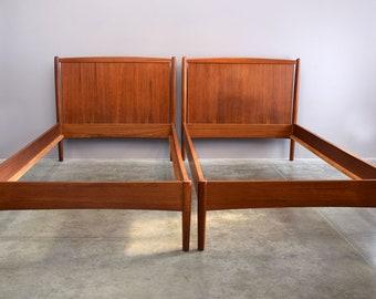Fine Danish Mid Century Teak Beds By Povl Dinesen   2 Available