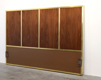 Paul McCobb Irwin Collection Mid Century Walnut U0026 Brass Headboard