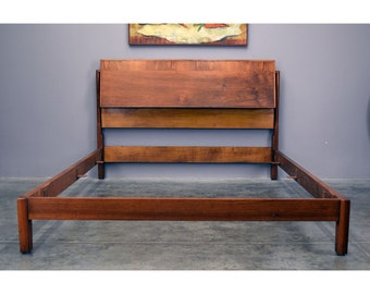 Mid Century John Widdicomb Walnut Bed Frame, Full/Double