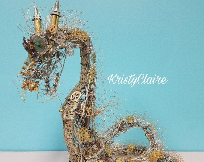 Steampunk Chinese Dragon Sculpture, Art, Metal, Gift