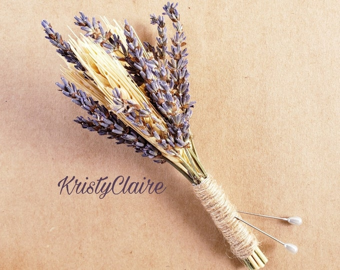 Lavender and Wheat Boutonniere, Buttonhole, Lapel,  Pin-on, Corsage