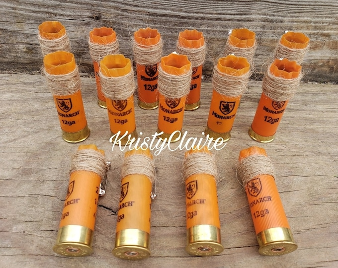 1 Empty Orange Shotgun Shell Boutonniere, 12 Gauge Shotgun, Shell, Hull, Wedding, Boutonniere, Lapel, Pin-on, Corsage, Custom, Craft, Supply