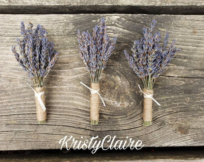 Lavender Boutonnieres (3) Buttonhole, Lapel,  Pin-on, Corsage