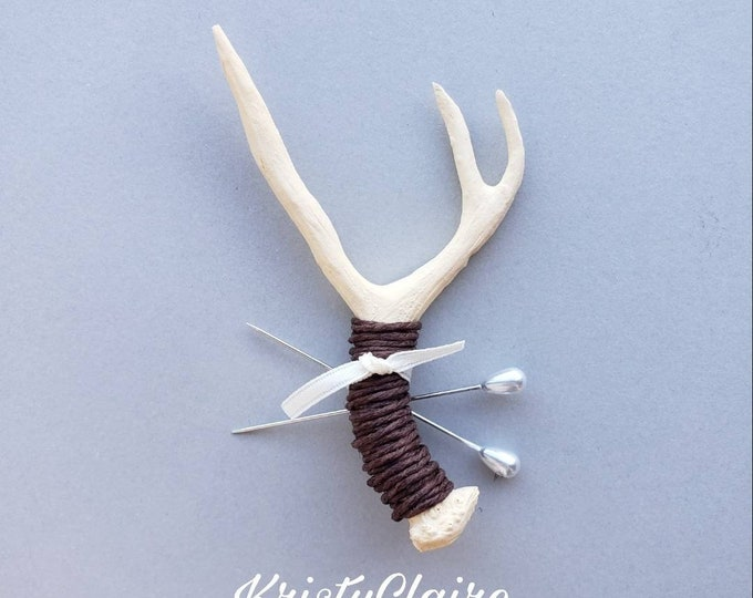 Ivory Antler Boutonniere with Brown Twine, Faux, Pin-on, Lapel, Buttonhole, Mini Antler, Taxidermy