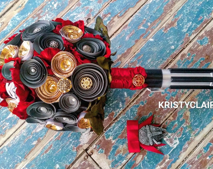 Star Wars Inspired Bridal Bouquet, Lightsaber Bouquet, Starwars Bouquet, Red, Gold, Black, Silver, PaperFlowers