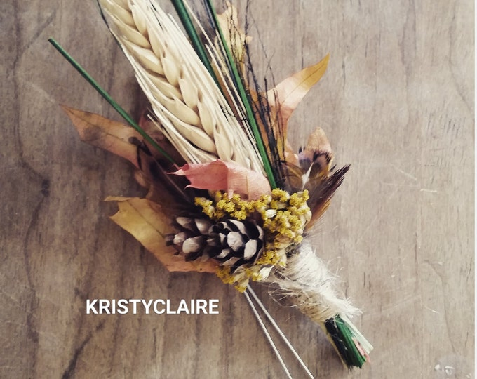 Fall Wheat, Pine Cone, Autumn Leaf Boutonniere