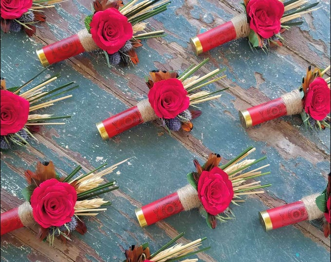 Wildflower Red Shot Gun Shell Boutonniere, Buttonhole, Lapel, Pin-on, Corsage