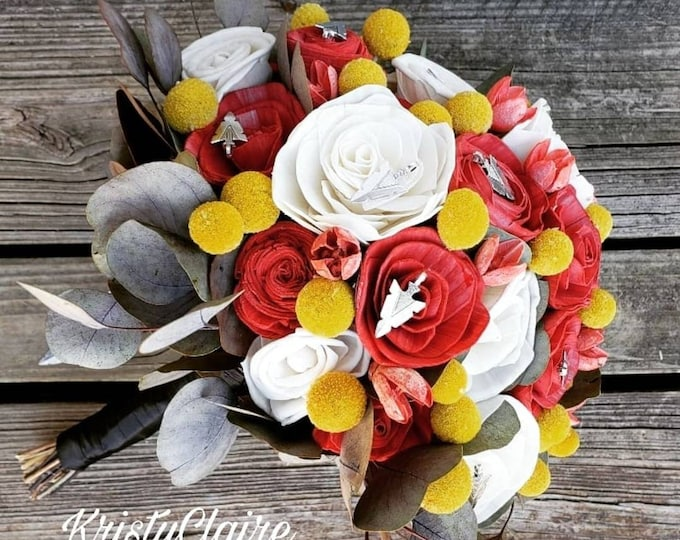 Kansas City Chiefs Inspired Bridal Bouquet, Red, Yellow, White, Arrowhead, Football Wedding, Sola, Wood Flower Bouquet