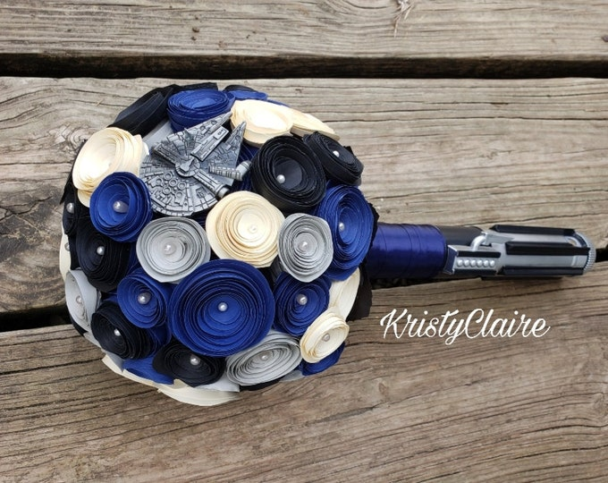 Star Wars Inspired Bridal Bouquet, Lightsaber Bouquet, Starwars Bouquet, Blue, Cream, Black, Silver, PaperFlowers