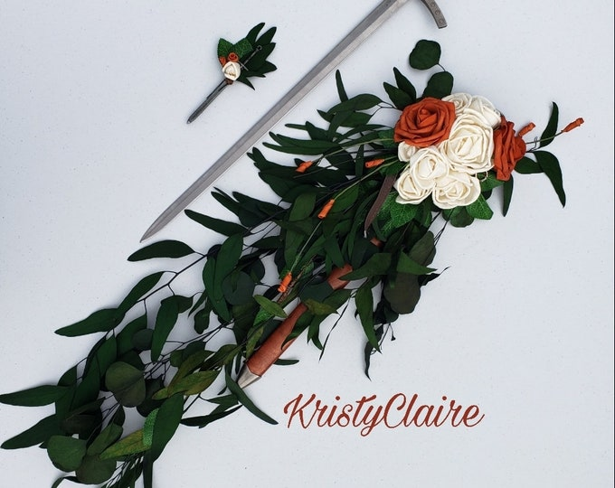 Medieval, Sword Bridal Bouquet, Burnt Orange, Sola Wood, Foam Rose, Eucalyptus Greenery, Medieval Times, Knight, Princess, Wedding, Decor