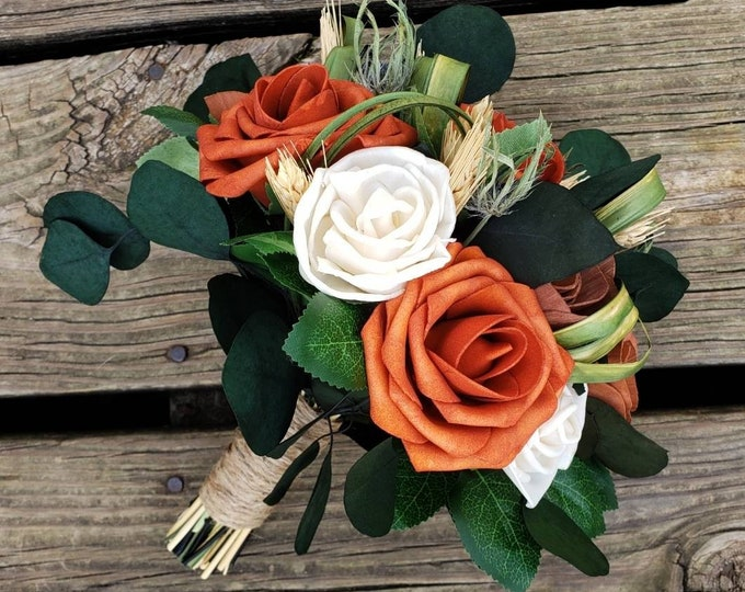 Burnt Orange Foam Rose, Ivory, Brown Sola Wood Flower, Bridal Bqt, Thistle, Eucalyptus, Twig, Greenery