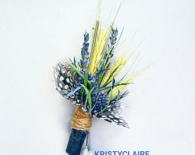 Rustic Wheat, Lavender & Thistle Boutonniere, Buttonhole, Lapel, Pin-on, Corsage