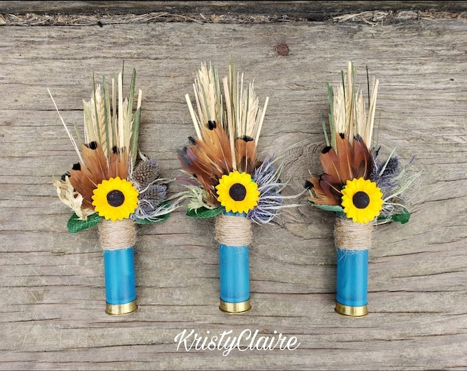 Sunflower Blue Shotgun Shell Boutonniere, lapel, buttonhole, pin-on, corsage, Groom, Groomsmen, Gift, Wedding Jewelry, Formal Wear
