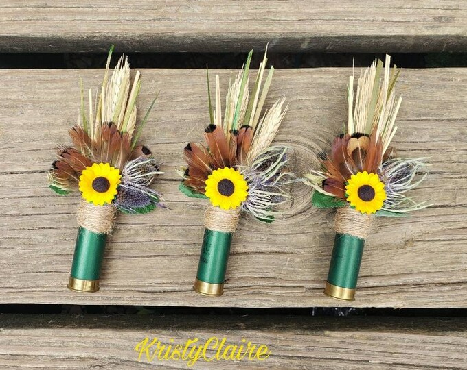 Green ShotGun Shell, Sunflower Boutonniere, Buttonhole, Lapel, Pin-on, Corsage