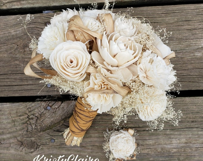 Sola Wood Bridal Bouquet,  Wood Flower, Rustic, Barnyard, Country, Bridesmaid