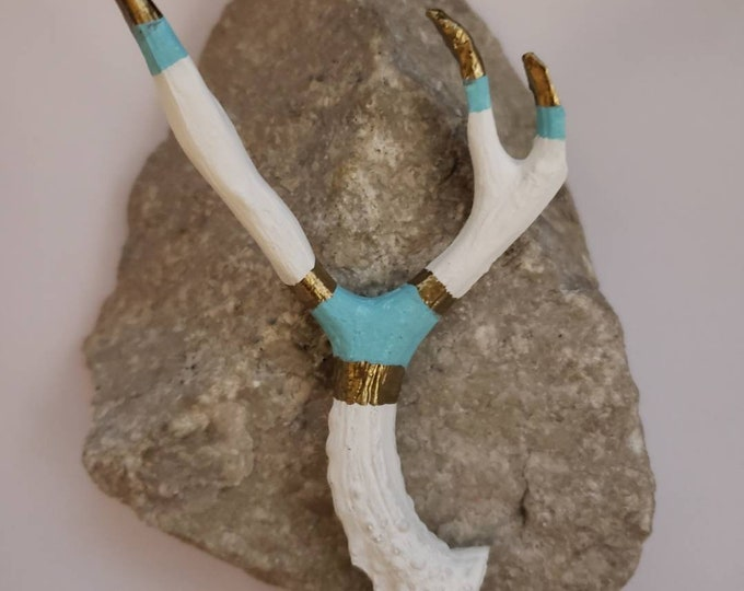 Mini Antler, Faux, Handmade, Small Antler, Deer, Taxidermy, Tribal, Boho, White, Gold, Blue, Jewelry