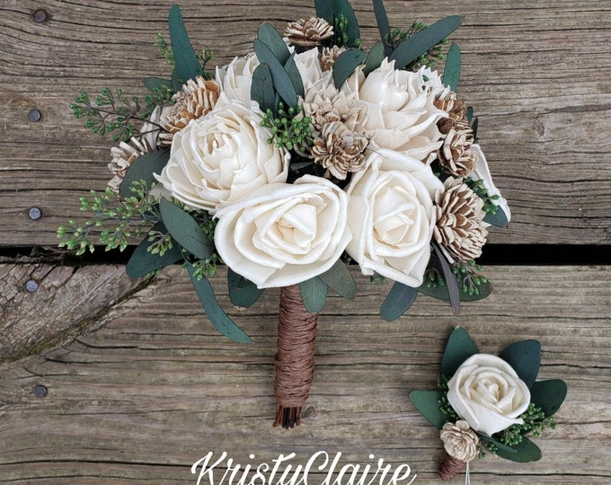 Sola Wood Bridal Bouquet Pkg,  Wood Flower, Rustic, Barnyard, Country, Bridesmaid, Halo, Flower Crown, Boutonniere, Corsage