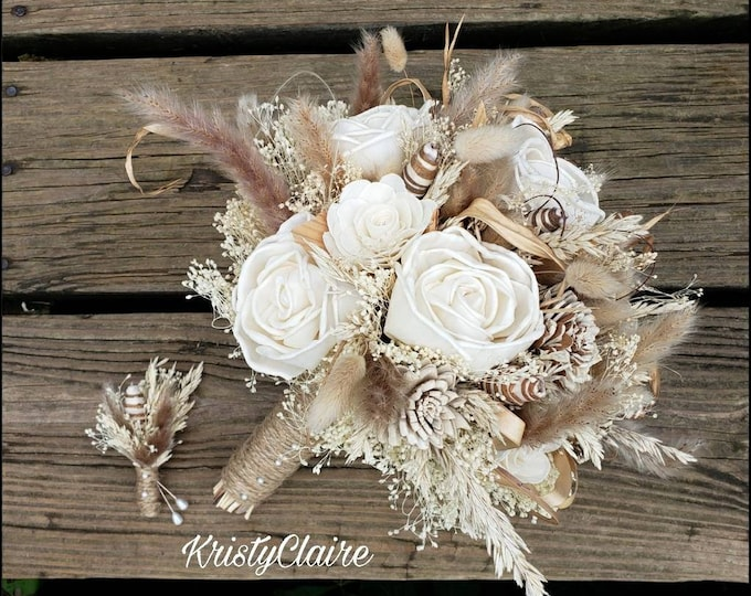 Sola Wood Bridal Bouquet,  Dried, Pampas Grass, Babysbreath, Bunny Tail, Wood Flower, Rustic, Barnyard, Country, Bridesmaid