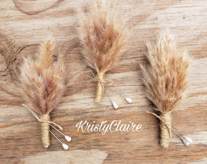 Pampas Grass Wedding Boutonniere, Lapel, Pin-on, Corsage, Buttonhole, Groom, Groomsmen, Wedding Party, Gift, Natural, Dried, Preserved