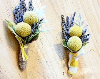 Lavender & Yellow Button Boutonniere, Crespedia, Billy Ball, Buttonhole, Lapel, Pin-on, Corsage