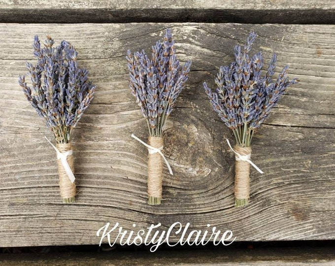 Lavender Boutonnieres (3) Buttonhole, Lapel,  Pin-on, Corsage
