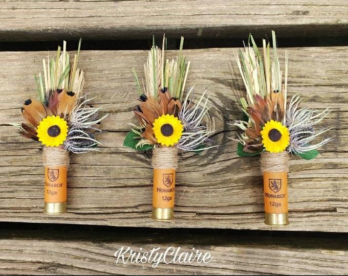 Orange Shotgun Shell, Sunflower Boutonniere, Buttonhole, Lapel, Pin-on, Corsage