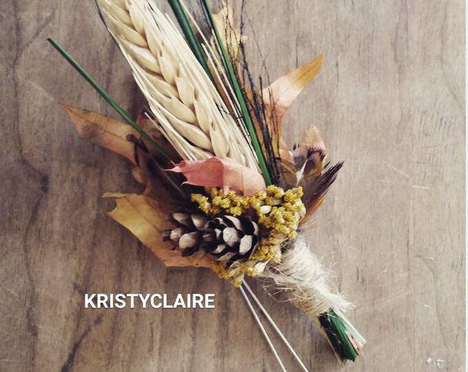 Fall Wheat, Pine Cone, Autumn Leaf Boutonniere