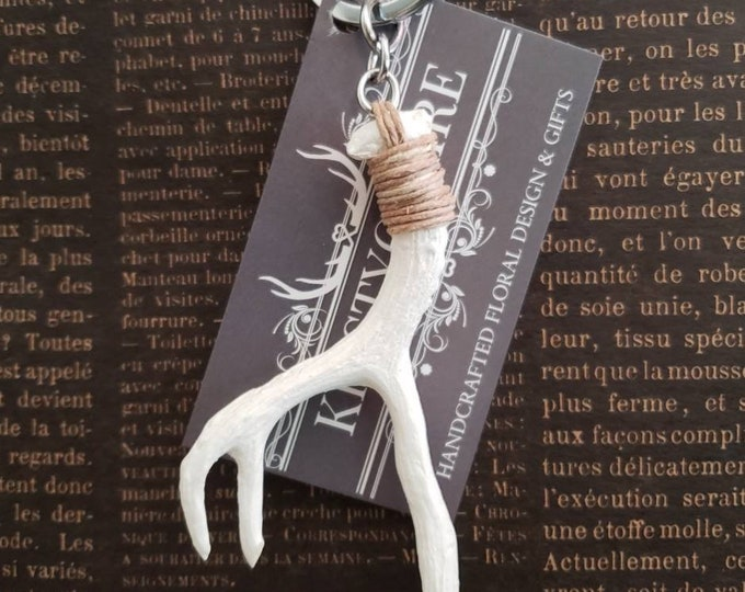 Antler Keychain, Faux Antler, Taxidermy, White, Ivory, Copper, Gold, Pink, Blue, Charm, Accessory