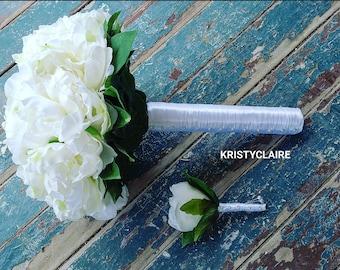 White Bridal Bouquet, Silk Peony
