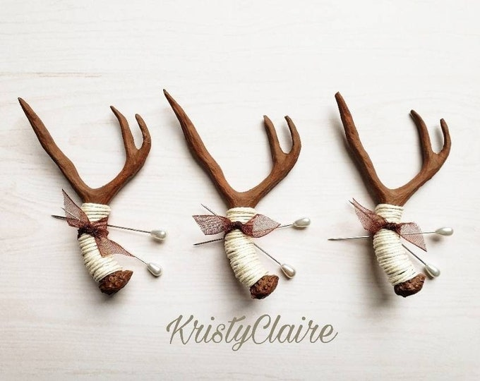 Brown Antler Boutonniere with Ivory Twine, Faux, Pin-on, Lapel, Buttonhole, Mini Antler, Taxidermy