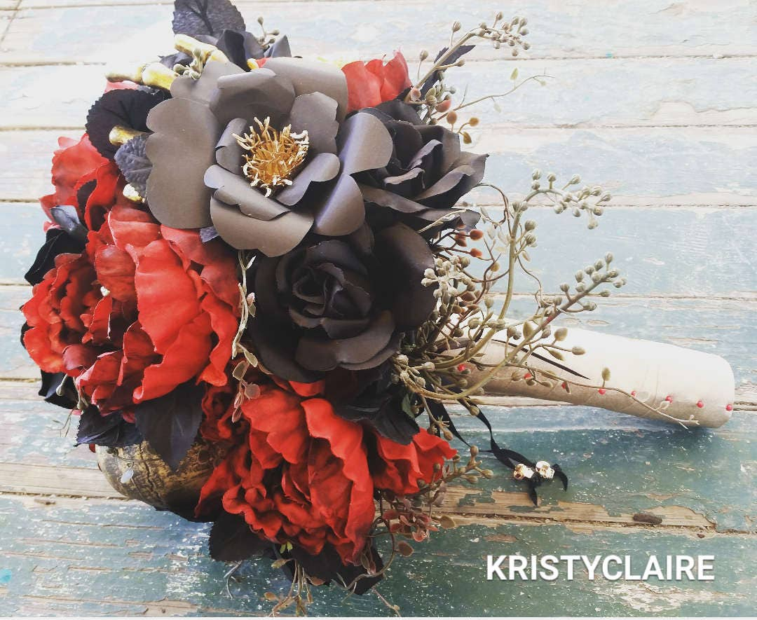 Gothic Halloween, Gold Skull, Black Rose, Red Peony Bridal Bouquet