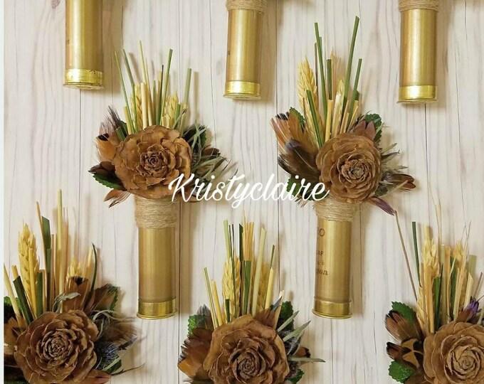 Gold ShotGun Shell, Pine Cone Flower Boutonniere, Lapel, Buttonhole, Pin-on, Corsage