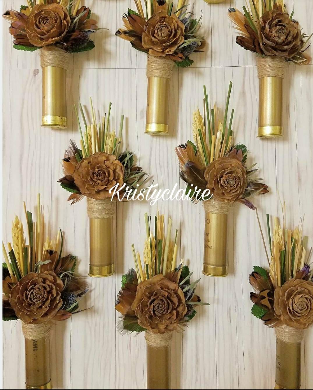 Elegant Gold ShotGun Shell, Pine Cone Flower Boutonniere, Lapel, Buttonhole, Pin On,  Corsage