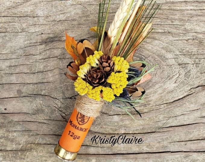 Fall Wheat, Pine Cone, Autumn Leaf, Orange Shotgun Shell Boutonniere