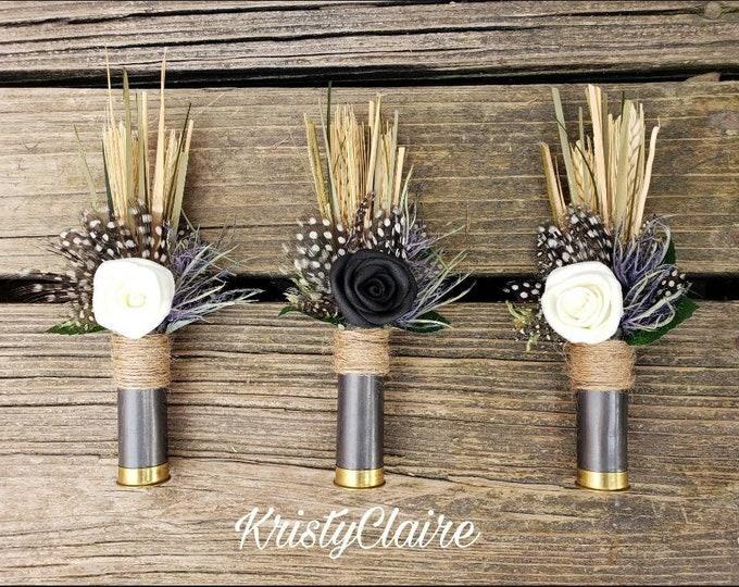 Black Rose, White Rose, Black Shotgun Shell Boutonniere, Lapel, Pin-On, Corsage, Polka Dot, Country, Outdoorsy, Hunting, Cowboy