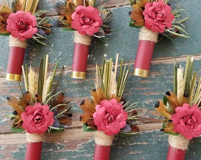 Burgundy Shotgun Shell Boutonniere, lapel, buttonhole, pin-on, corsage