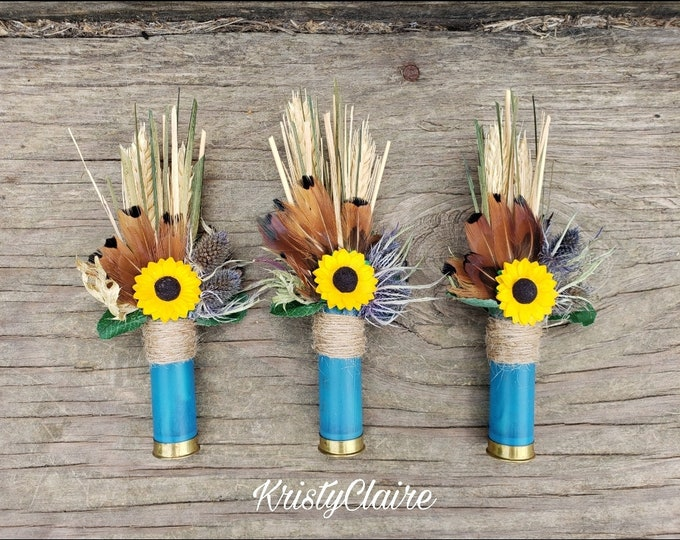 Sunflower Blue Shotgun Shell Boutonniere, lapel, buttonhole, pin-on, corsage, Groom, Groomsmen, Gift, Wedding Jewelry, Formal Wear