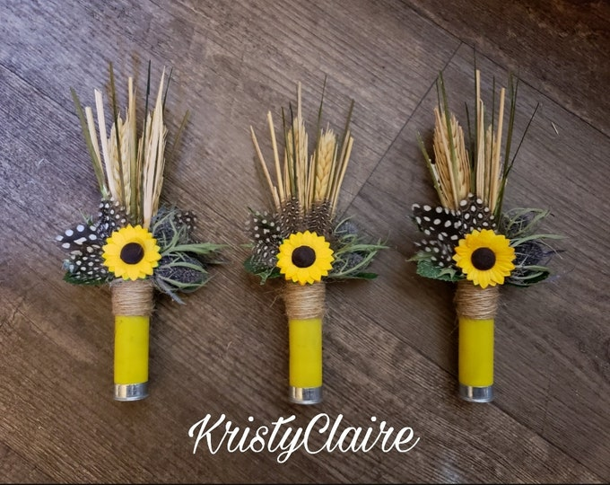 Sunflower Yellow Shotgun Shell Boutonniere, Lapel, Pin-On, Corsage