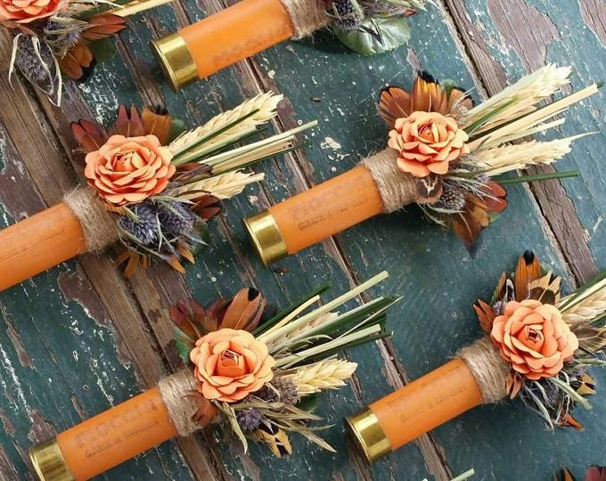 Orange Shotgun Shell Boutonniere, lapel, buttonhole, pin-on, corsage